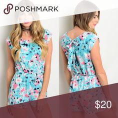 Aqua Blue & Pink Floral Short Sleeve Romper New with tags. This floral romper features a round neckline, gathered waist, and back bow tie. Also comes in fuchsia listed separately.                  100% rayon.                                                                      PRICE IS FIRM UNLESS BUNDLED.                         ❌SORRY, NO TRADES. Boutique Pants Jumpsuits & Rompers
