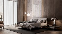 hotel bedroom Design and visualization of the master bedroom for Neim on Behance Luxury Bedroom Design, Bedroom Bed Design, Modern Master Bedroom, Contemporary Bedroom, Home Bedroom, Romantic Bedroom Decor, Bedroom Vintage, Loft Style Apartments, Design Loft