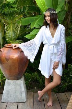 Bridal Robe Gabrielle Lace Sleeve Kimono Robe White by Piyama