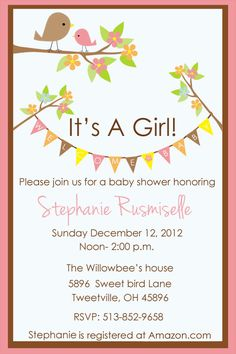 Baby Shower invitation,  Tweet little bird,  For Girl,   Customized, Print your own on Etsy, $12.00