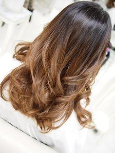 Golden caramel copper tones - brown hair