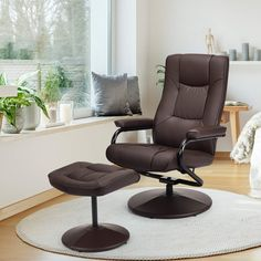 Giantex Swivel Recliner Chair w/Ottoman, 360 Degree Swivel PU Leather Chair w/Footrest, Lounge Armchair w/Overstuffed Padded Seat and Leather Wrapped Base, for Home Office Living Room(Brown) Swivel Recliner Chairs, Recliner With Ottoman, Leather Recliner Chair, Contemporary Recliner Chairs, Modern Armchair, Reclining Office Chair, Lounge Seating, Lounge Chairs
