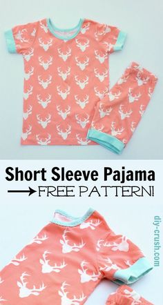 Short Sleeve Pajama Pattern with free template download link | DIY Crush