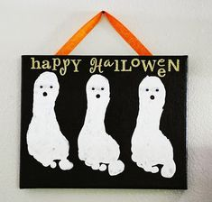 Ghost feet, too freakin cute.  Little man will be making one of these.
