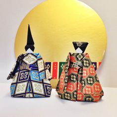 Origami Japanese Doll  Light Blue and Dark Blue. by SelectShopNORA