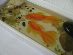 Goldfish handpainted in layers of resin to produce depth and realism. Only the rocks are real! www.soreal-art.com 3d Resin Painting, Goldfish, The Rock, Rocks, Layers, Hand Painted, Artwork, Layering, Work Of Art