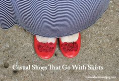 Women Fashion - Casual Shoes that go with Skirts! Dress in style with these outfit/shoe ideas.