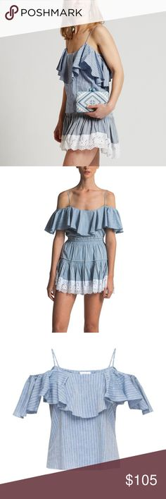 Spaghetti Strap Ruffle Top Brand new, on the hanger!  The perfect off the shoulder staple!  A voluminous ruffled overlay sits elegantly off the shoulders. Wear yours with everything from tailored shorts, denim, or as seen with matching eyelet skirt.   - c o l o r - denim stripe  - m a t e r i a l s - 100% cotton MISA Tops