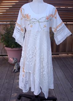 Upcycled vintage embroidered tablecloth lace dress