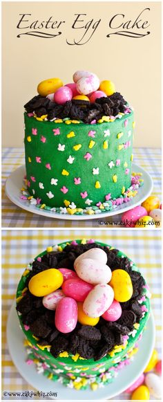 EASTER EGG CAKE... so cute and colorful and very easy to make! Kids are gonna love this cake! From cakewhiz.com