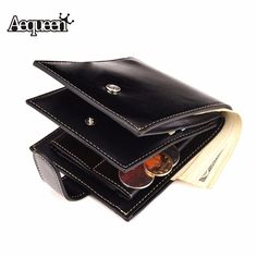 AEQUEEN Wallets PU Leather Men's Purse Business Casual Short Men Wallet Clip Small Clutches Coin Purses Solid Color #Affiliate