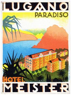 Vintage Luggage, Vintage Travel, Vintage Hotels, Luggage Labels, Lugano, Grand Hotel, Switzerland, Typography, Paper Crafts