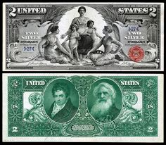 US 2 Dollar Note Series 1896 Serial# 139894 Signatures: Tillman / Morgan Science presenting Steam & Electricity to Commerce & Manufacture Portraits: Robert Fulton & Samuel F. Old Coins, Rare Coins, Twenty Dollar Bill, Arte Steampunk, Money Notes, Silver Certificate, Two Dollars, Gold Money, Us History