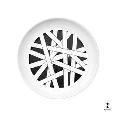 Dishes | Series Exiles | Twist | 2015 | Designer Vincenzo D'Alba | Ø 27cm | Handmade Ceramic dish. Kiasmo Made by Collection | Shop on line www.kiasmo.it #kiasmo #art #architectura #design #fashion #plate #dish #piatto #print #ink #stampa #artist #vincenzodalba #ceramic #pottery #porcellana #black #white #firm #brand #branding #food #foodporn #eating #pencil #gourmet #foodie #chefslife #foodpic #delish