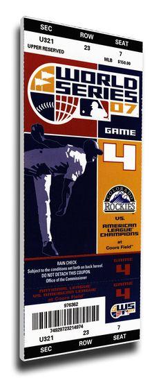 2007 World Series Game 4 Canvas Mega Ticket - Colorado Rockies
