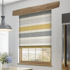 Cardigan Stripe Linen Flax Grey Roman Blind
