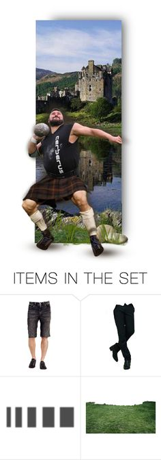 """""""Men in Kilts _ Putting the Shot."""" by auntiehelen ❤ liked on Polyvore featuring art"""