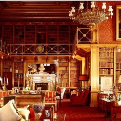 The incredible library at Alnwick Castle .