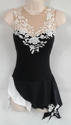 This listing is for a beautiful, brand new black and white figure skating costume. Dress is made of black lycra with sweetheart neckline, and features white lace detail built on the bodice, neckline, Figure Skating Outfits, Figure Skating Costumes, Figure Skating Dresses, Black Figure, Dress Vestidos, Ballroom Dress, Dance Dresses, Corsage, Dance Costumes