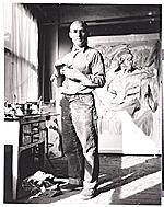 Willem de Kooning at work in his studio, 1952