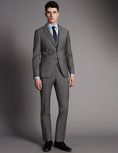 Grey Slim Fit Suit Including Waistcoat | M&S