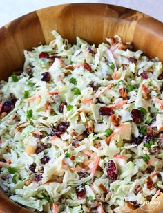 Cranberry Pecan Slaw Take your coleslaw to a whole new level with sweet, tangy cranberries and crunchy pecans. Mix in an apple and some savory green onions then toss it all in a creamy dressing for a dish that's an amazing side for any gathering! Soup And Salad, Pasta Salad, Salad Bar, Chicken Salad, Shrimp Salad, Side Salad, Baked Chicken, Chicken Recipes, Quinoa Pasta