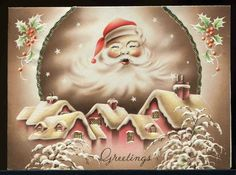 Vintage 1930's Art Deco Motto Christmas Card Santa's Face Glows Over Village | eBay