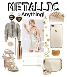"""METALLIC: Anything!"" by mandimwpink ❤ liked on Polyvore featuring Silence + Noise, Off-White, Tommy Hilfiger, Valentino, Livingly, Chanel, Miriam Haskell, Black & Sigi, S'well and Maison Margiela"
