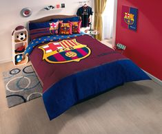 New Blue FCB Club Barcelona Soccer Comforter Bedding Sheet Set
