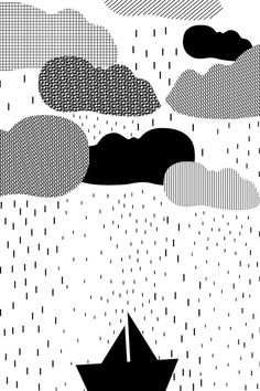 Clouds and boat line drawing | Raindrops illustration | spring showers | rainy day | kids room print | nursery wall art | black and white print | stripes | kids posters | printable kids gift | Find more on etsy.com | This is a digital file, ready for instant download. You will receive a high resolution JPG files of the following sizes: 8x10 inches, 11x14 inches, A3