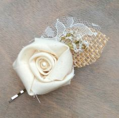 Rustic Cream Fabric Rosette  Wedding Hair Accessory by TheSunnyBee, $13.50
