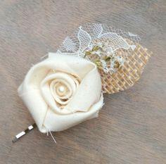 Rustic Cream Fabric Rosette  Wedding Hair Accessory by TheSunnyBee, $13.50