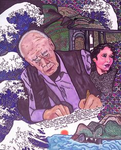 This portrait was created by Mia Malone-Jennings. Henry Miller, Anais Nin and Big Sur.
