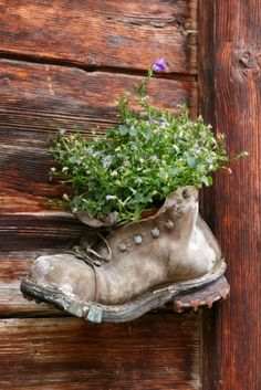 Tons of ideas for recycling every day items for gardening purposes, especially seed starting.  I did this for a number of years until the boots rotted away, I maybe should have lined the boots with plastic!