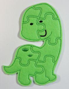 Dinosaur Felt Puzzle Children's Toy Game by lilliannamarie on Etsy, $5.00