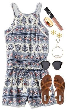 #spring #outfits / romper + sunglasses