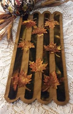 """Autumn Splendor"" Wool Applique Table Runner Pattern Cath's Pennies Designs"