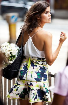 White cami and floral skirt on Geneva from #apairandaspare - so pretty!