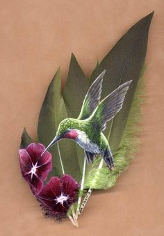 Hand Painted Feathers by Mark Ricker (Humming Bird)