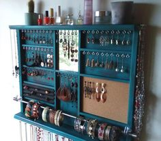 Jewelry holder. Large earrings display shelf. TURQUOISE