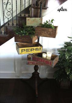 Idea para jardinera, hecha con cajas de refresco. (Vintage)