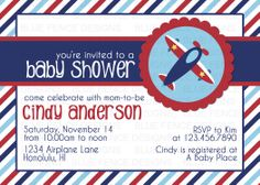 Airplane Baby Shower Invitation.  Etsy-Blue Fence Designs:  https://www.etsy.com/shop/BlueFenceDesigns?ref=si_shop