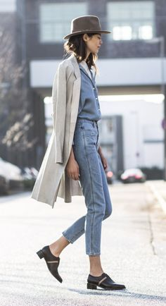 justthedesign:  Denim On Denim Outfit:Sandra Semburg shooting… http://ift.tt/1ZrgSgr