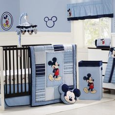 Mickey Mouse Crib Baby Nursery Bedding Decorating Ideas Blue Luxurious Mickey Mouse Baby Nursery Room Ideas Mickey And Minnie Mouse Bedroom Decor Ideas For Kids With Colorful Furniture - pictures, photos, images