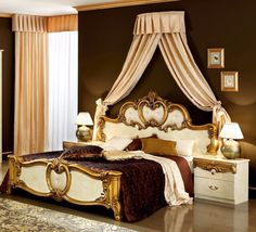 ESF Furniture - Barocco 3 Piece Bedroom Eastern King Panel Bed Set in Ivory/Gold - Unique Furniture, Online Furniture, Luxury Furniture, Bedroom Furniture, King Bedroom Sets, Queen Bedroom, Master Bedrooms, Lounge, Mansions