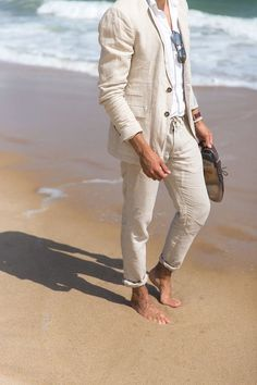 Custom Made Beige Linen Groom Tuxedos For Beach Wedding 2 Pieces Mens Prom Party Suits Best Man Groomsman Suit Blazer Terno Beach Wedding Groom Attire, Beach Groom, Beach Attire, Wedding Beach, Beach Wedding Menswear, Lesbian Beach Wedding, Beach Weddings, Beach Party, Barefoot Wedding