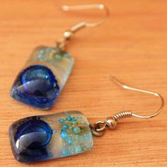 Light and Dark Blue Glass Earrings with by ArtisansintheAndes