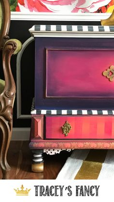 Sunset Colors + Black and white Stripes. eGorgeous Painted Hope Chest  by Tracey's Fancy #furniture #furnituremakeover Painted Hope Chest | Painted Blanket Chest | Blanket Storage Ideas | Painted Blanket Trunk Makeover | #dixiebellepaint | How to paint furniture | Pink Furniture Blended Paint | How to Blend Paint