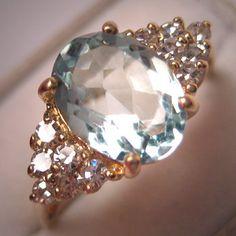 This vintage aquamarine diamond ring is timeless.