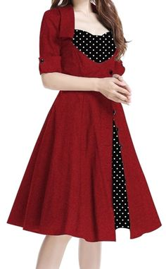 Amazon.com: Forever Yours - Red Black 40s 50s Retro Swing Vintage Style Dress: Clothing  https://www.amazon.com/gp/product/B01JFF16TY/ref=as_li_qf_sp_asin_il_tl?ie=UTF8&tag=rockaclothsto-20&camp=1789&creative=9325&linkCode=as2&creativeASIN=B01JFF16TY&linkId=804ce9f6fe8ccdddbded419a852a2673